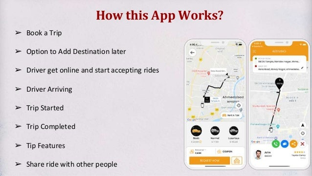 How this App Works? ➢ Book a Trip ➢ Option to Add Destination later ➢ Driver get online and start accepting rides ➢ Driver...
