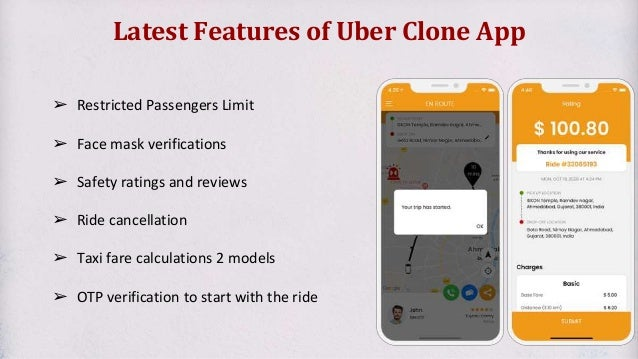 Latest Features of Uber Clone App ➢ Restricted Passengers Limit ➢ Face mask verifications ➢ Safety ratings and reviews ➢ R...