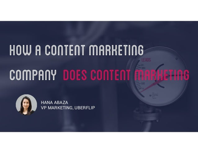 HOWACONTENTMARKETING COMPANY DOESCONTENTMARKETING HANA ABAZA VP MARKETING, UBERFLIP