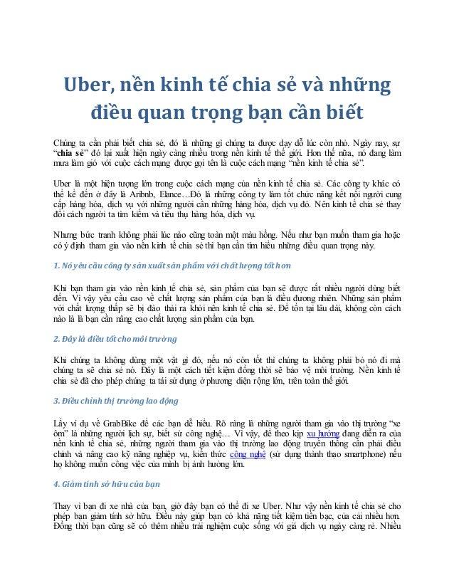 Uber, nền kinh tế chia sẻ và những điều quan trọng bạn cần biết Chúng ta cần phải biết chia sẻ, đó là những gì chúng ta đư...