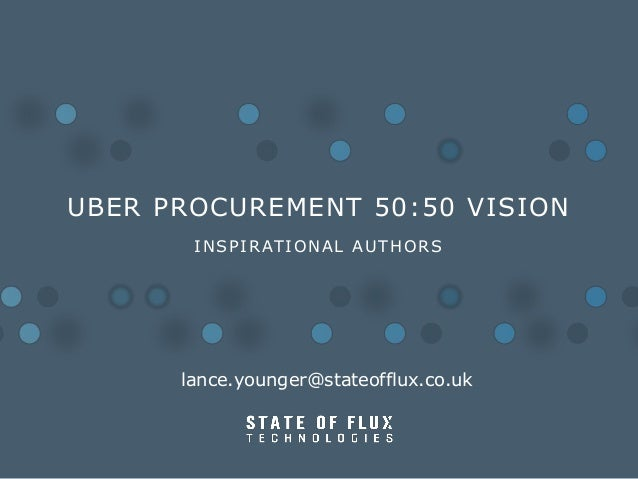 UBER PROCUREMENT 50:50 VISION I N S P I R AT I O N A L A U T H O R S  lance.younger@stateofflux.co.uk