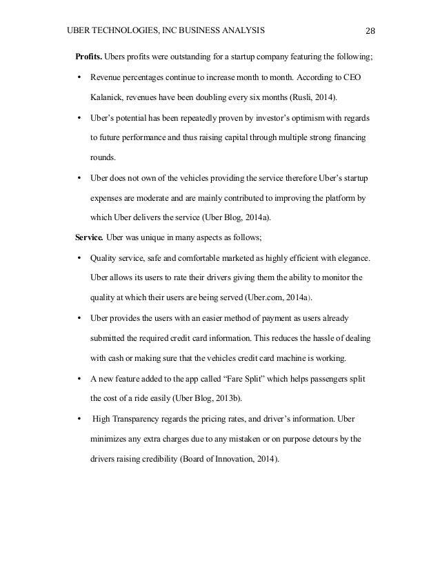 Uber technologies, Inc  Business analysis