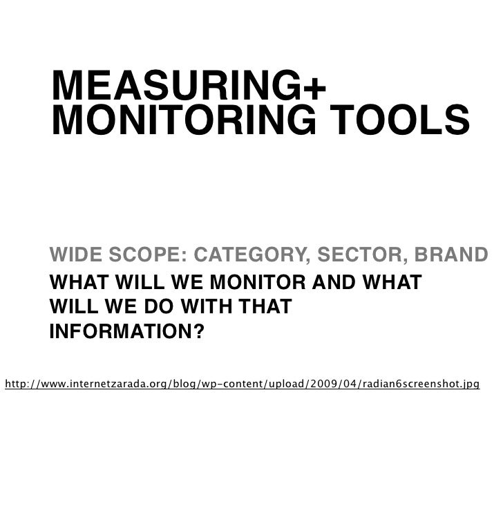 MEASURING+       MONITORING TOOLS       WIDE SCOPE: CATEGORY, SECTOR, BRAND       WHAT WILL WE MONITOR AND WHAT       WILL...