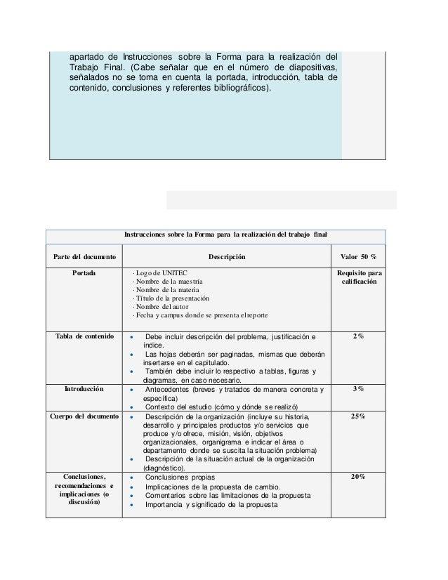apartado de Instrucciones sobre la Forma para la realización del Trabajo Final. (Cabe señalar que en el número de diaposit...