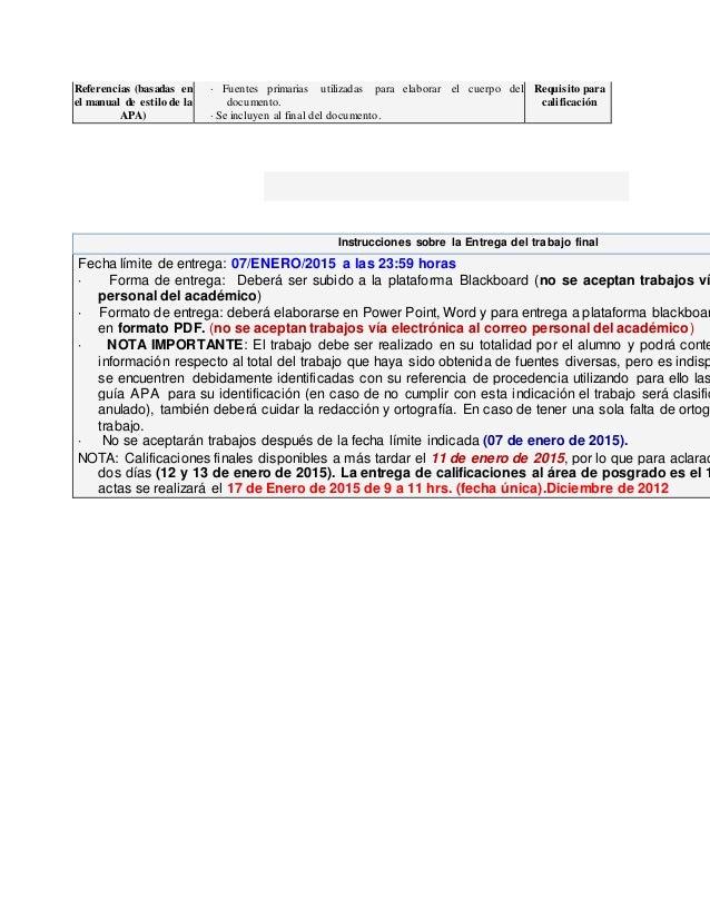Referencias (basadas en el manual de estilo de la APA) · Fuentes primarias utilizadas para elaborar el cuerpo del document...