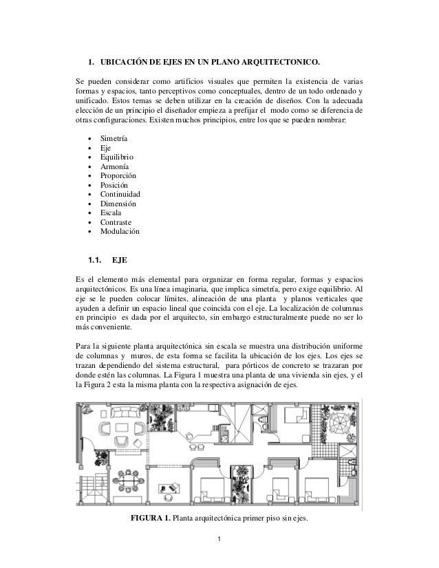 Ubicaci n de ejes en un plano arquitect nico for Que es un plano arquitectonico