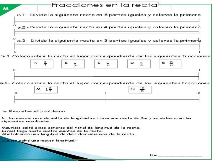 Fracciones en la recta 3M                         Resuelve los siguientes problemas: Don José heredó a su hijos un terren...