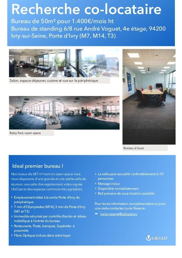 Recherche co-locataire Bureau de 50m² pour 1.400€/mois ht Bureau de standing 6/8 rue André Voguet, 4e étage, 94200 Ivry-su...