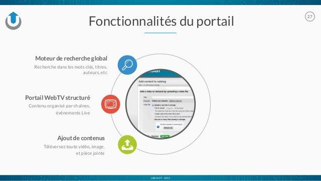 UBICAST - 2015 27 Ajout de contenus Téléversez toute vidéo, image, et pièce jointe Fonctionnalités du portail Moteur de re...