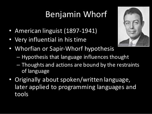 sapir whorf hypothesis essay The sapir-whorf hypothesis is the idea that the difference in language limits and affects our thought process to only the language one speaks, therefore, not depicting the world and culture in ways others that different languages may perceive it.