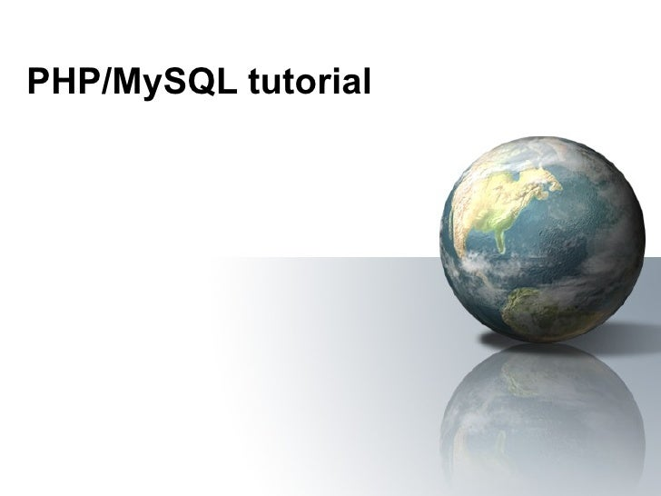 PHP/MySQL tutorial