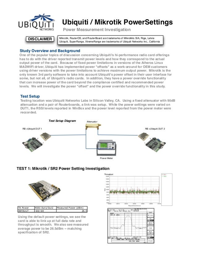 DISCLAIMER Ubiquiti / Mikrotik PowerSettings Power Measurement Investigation Study Overview and Background One of the popu...