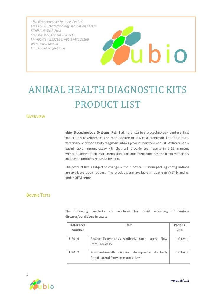 ubio Biotechnology Systems Pvt Ltd.                XII-‐111-‐E/F, Biotechnology Incubation Centr...