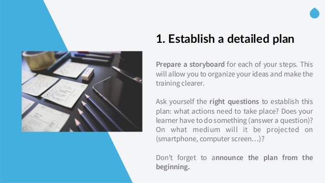 -‐ 1. Establish a detailed plan    Prepare a storyboard for each of your steps. This will allow you to organize you...