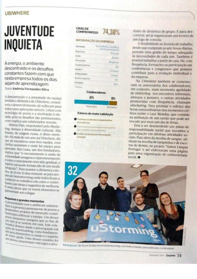 Ubiwhere - Best Company to Work in Portugal 2014 - Exame/Accenture