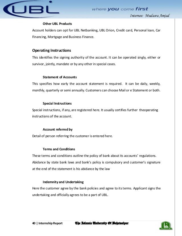 "internship report on ubl bank 40 Page | 40 5 fifth week:  ""hierarchy of united bank limited for united bank limited aiou internship report""scribd accessed september12, 2013."