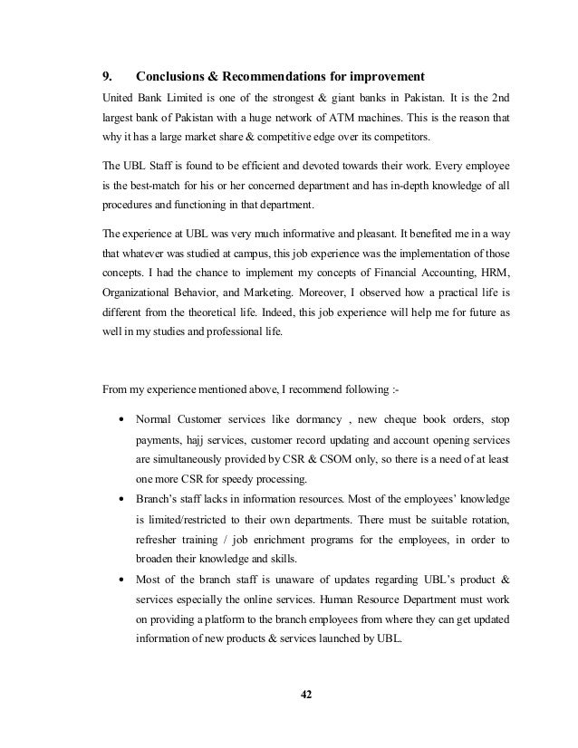 ubl internship report Ubl bank internship report of 2012 :) full fill all aspect of one of the best  internship report.