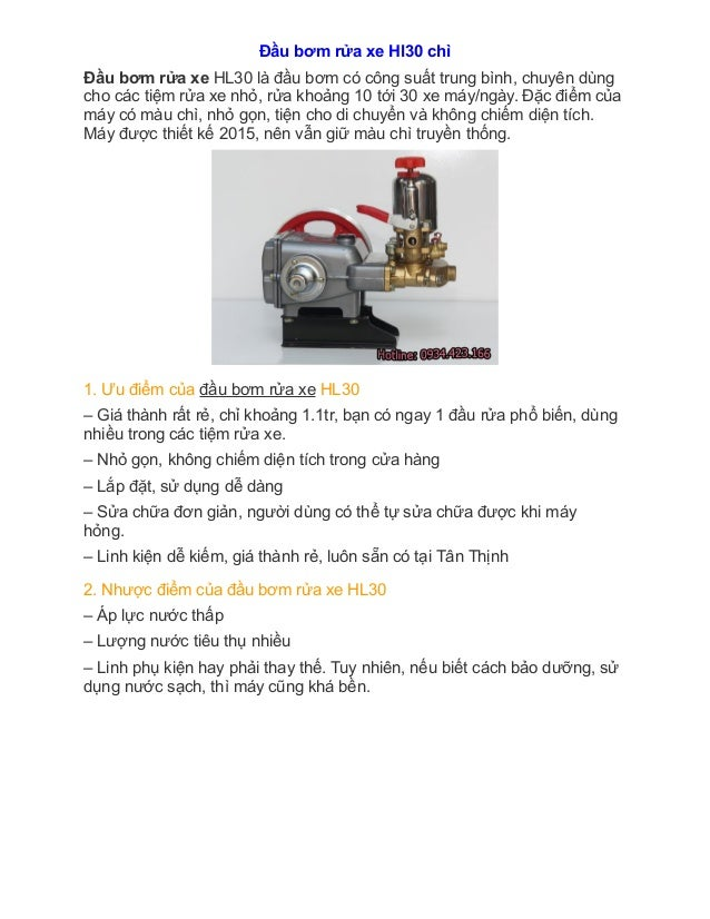 Đầu bơm rửa xe Hl30 chi Đầu bơm rửa xe HL30 là đầu bơm có công suất trung bình, chuyên dùng cho các tiệm rửa xe nhỏ, r...