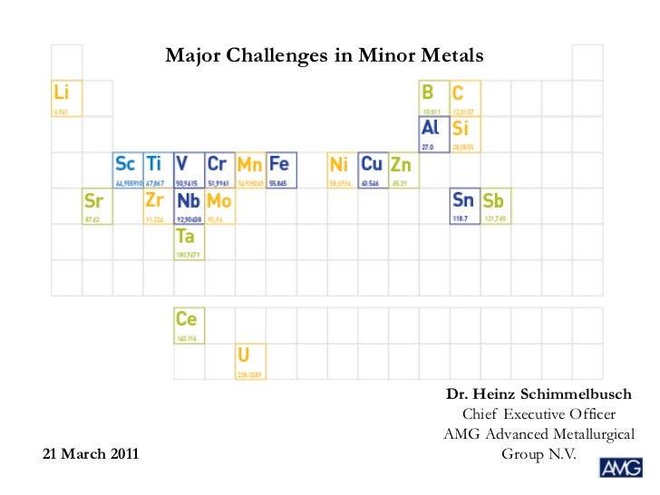Major Challenges in Minor Metals                                           Dr. Heinz Schimmelbusch                        ...