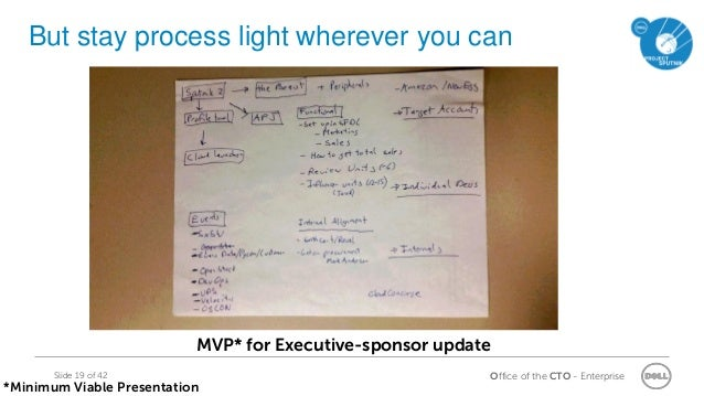 Office of the CTO - EnterpriseSlide 19 of 42 But stay process light wherever you can MVP* for Executive-sponsor update *Mi...