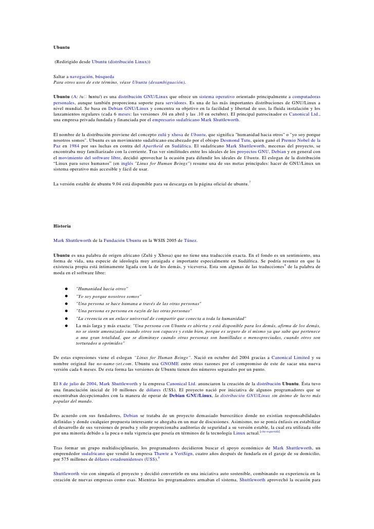 Ubuntu<br /> (Redirigido desde Ubuntu (distribución Linux))<br />Saltar a navegación, búsqueda<br />Para otros usos de est...