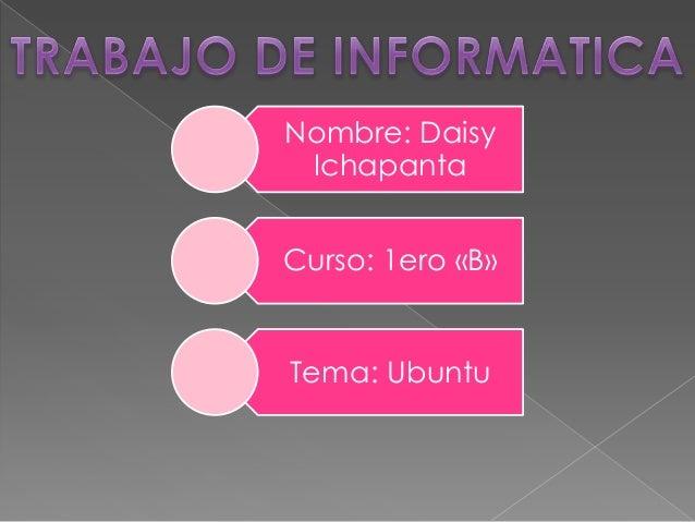Nombre: Daisy Ichapanta  Curso: 1ero «B»  Tema: Ubuntu