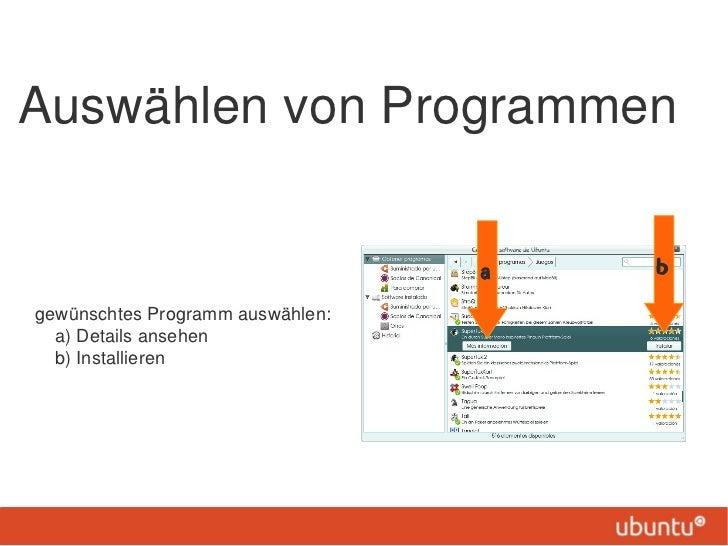 Auswählen von Programmen                                  a   bgewünschtes Programm auswählen:  a) Details ansehen  b) Ins...