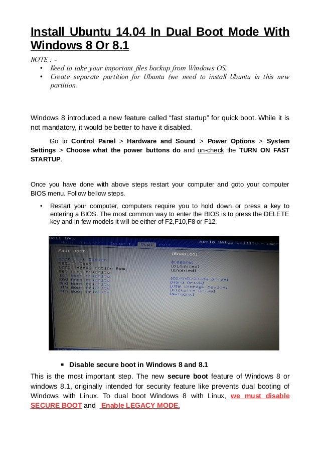 Ubuntu 14 04 installation with windows8 with legacy mode
