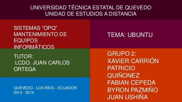 GRUPO 2: XAVIER CARRIÓN PATRICIO QUIÑONEZ FABIAN CEPEDA BYRON PAZMIÑO JUAN USHIÑA UNIVERSIDAD TÉCNICA ESTATAL DE QUEVEDO U...