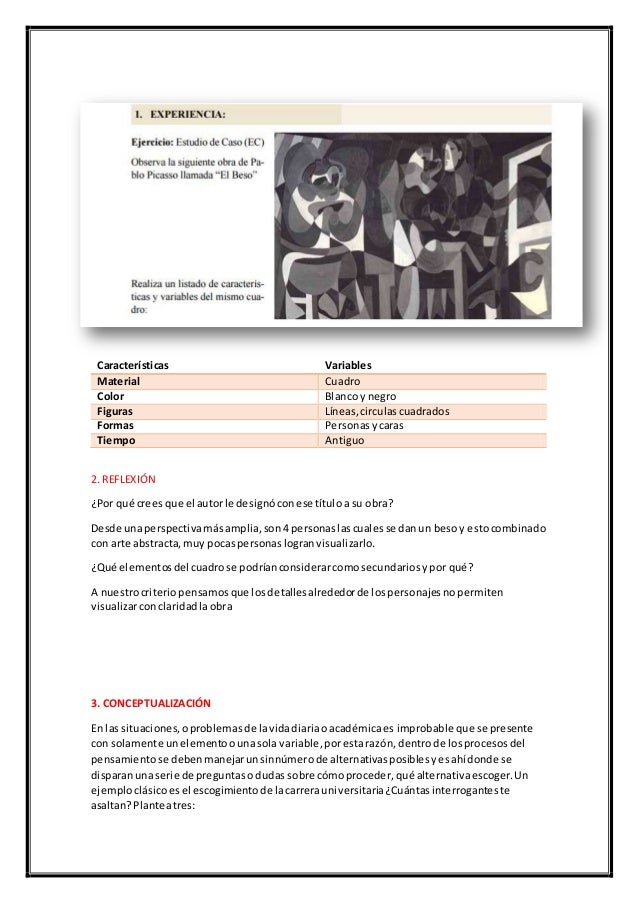 Características Variables Material Cuadro Color Blancoy negro Figuras Líneas,circulascuadrados Formas Personasycaras Tiemp...