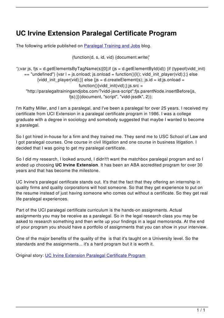 Uc Irvine Extension Paralegal Certificate Program