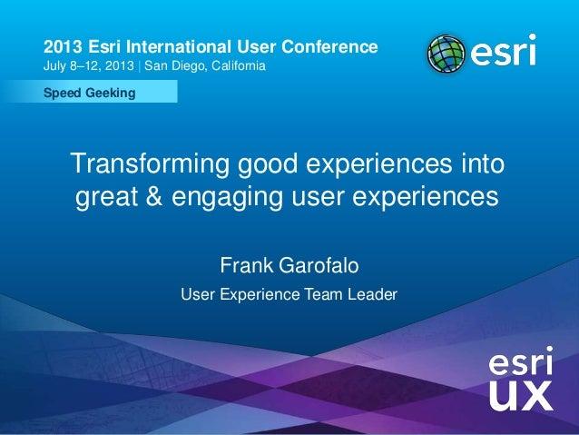 Esri UC2013 . Technical Workshop . Speed Geeking 2013 Esri International User Conference July 8–12, 2013 | San Diego, Cali...
