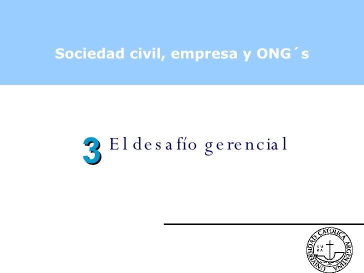 Sociedad civil, empresa y ONG´s El desafío gerencial 3