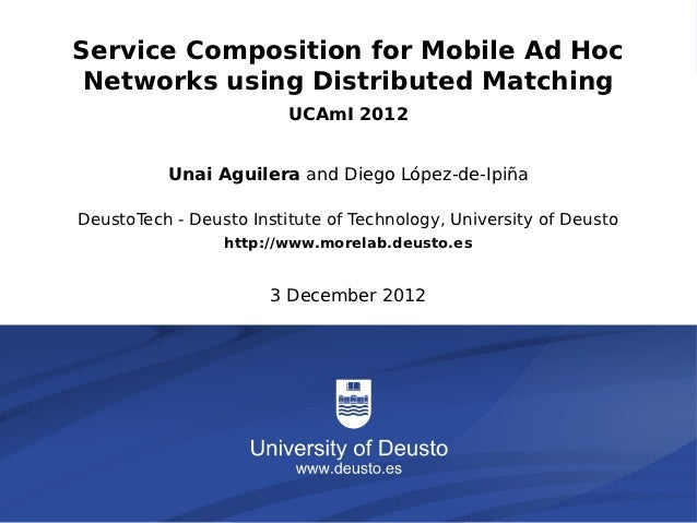 Service Composition for Mobile Ad Hoc          Networks using Distributed Matching                                        ...