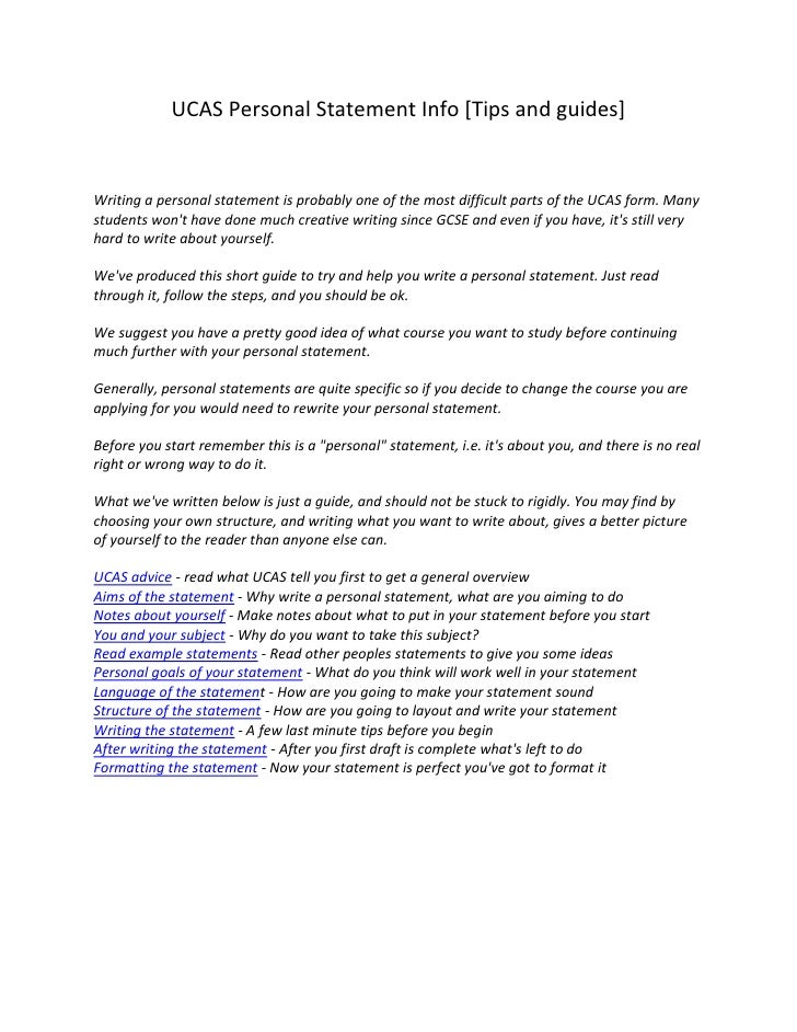Writing a great personal statement