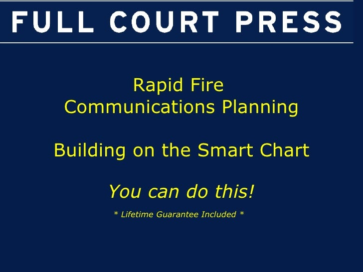 Rapid Fire  Communications Planning Building on the Smart Chart You can do this! * Lifetime Guarantee Included *