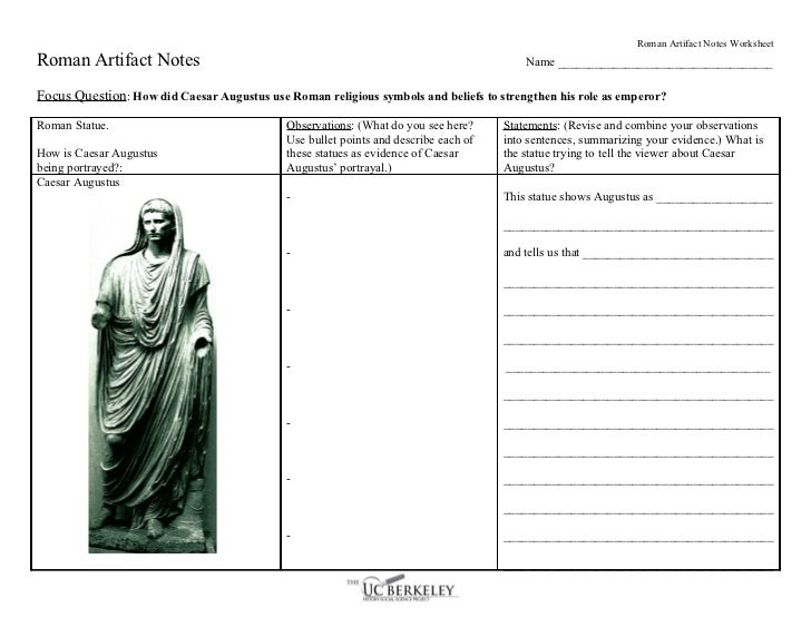 ucbhssp roman artifact notes worksheet. Black Bedroom Furniture Sets. Home Design Ideas