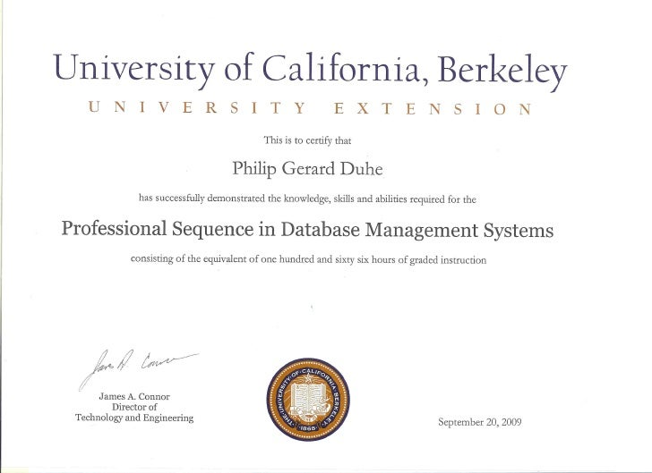 Uc Certificate In Database Management Systems