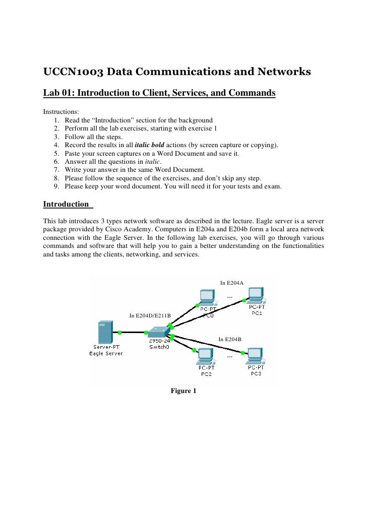 UCCN1003 Data Communications and NetworksLab 01: Introduction to Client, Services, and CommandsInstructions:    1. Read th...