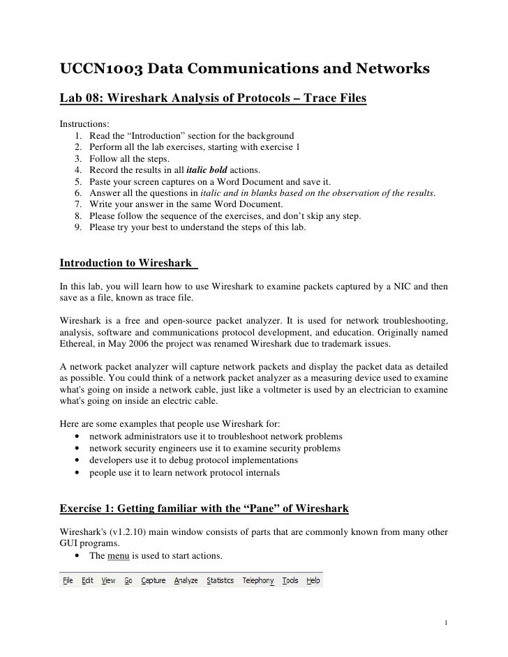 UCCN1003 Data Communications and NetworksLab 08: Wireshark Analysis of Protocols – Trace FilesInstructions:    1. Read the...