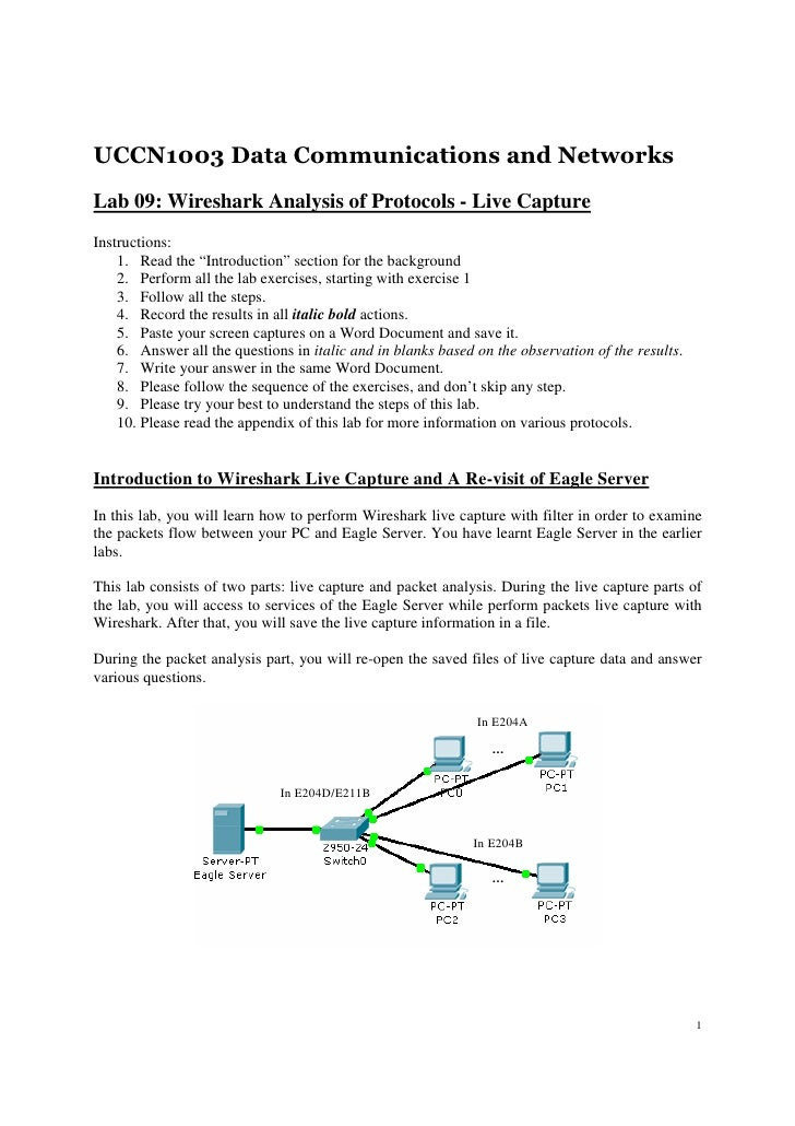 UCCN1003 Data Communications and NetworksLab 09: Wireshark Analysis of Protocols - Live CaptureInstructions:    1. Read th...