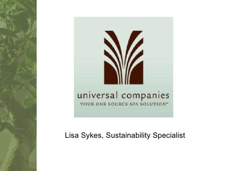Lisa Sykes, Sustainability Specialist