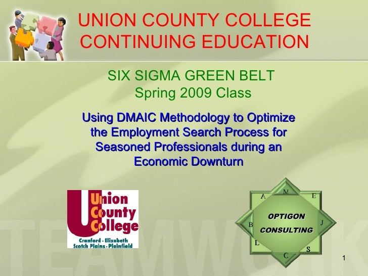UNION COUNTY COLLEGE CONTINUING EDUCATION SIX SIGMA GREEN BELT   Spring 2009 Class Using DMAIC Methodology to Optimize the...