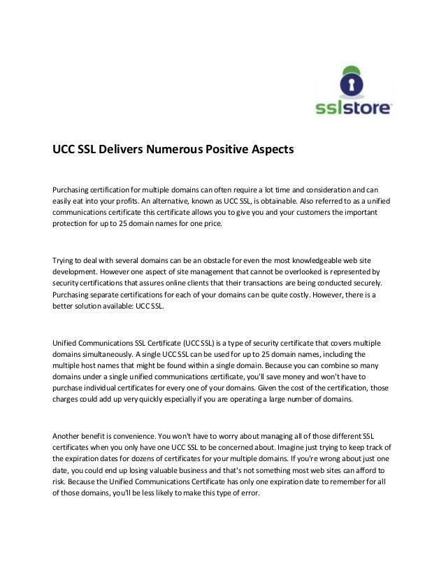 Ucc Ssl Delivers Numerous Positive Aspects