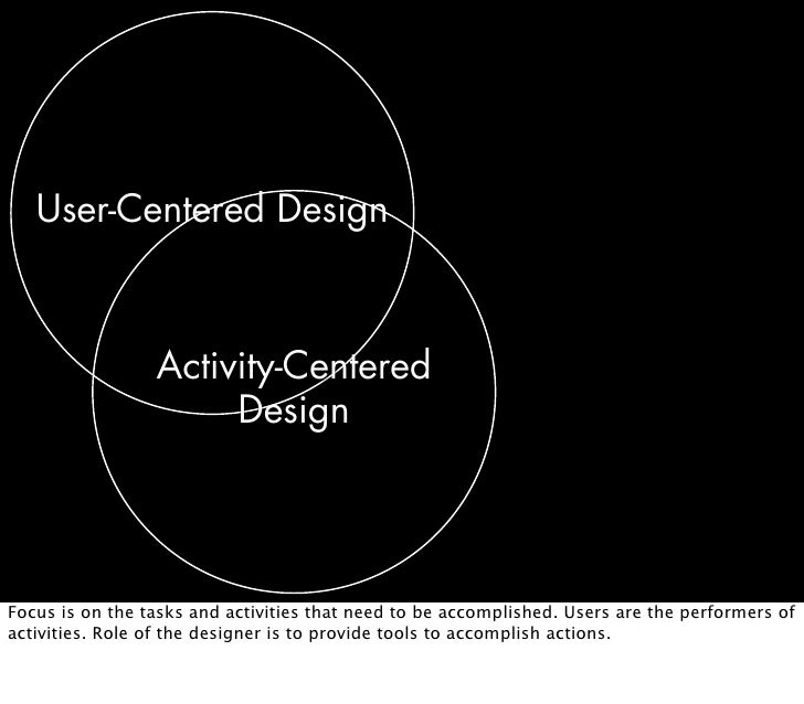 User-Centered Design                     Activity-Centered                       Design     Focus is on the tasks and acti...