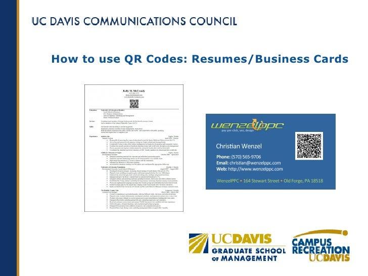 Uc davis qr code presentation how to use qr codes resumesbusiness cards colourmoves