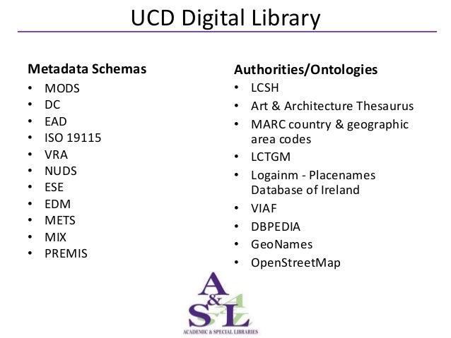 UCD Digital LibraryMetadata Schemas          Authorities/Ontologies•   MODS                  • LCSH•   DC                 ...