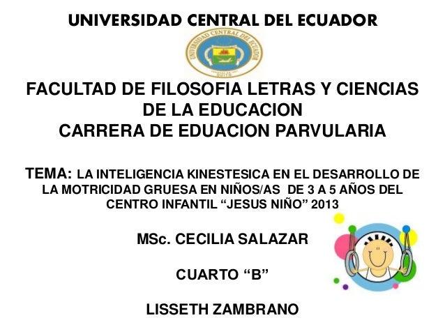 UNIVERSIDAD CENTRAL DEL ECUADOR FACULTAD DE FILOSOFIA LETRAS Y CIENCIAS DE LA EDUCACION CARRERA DE EDUACION PARVULARIA TEM...