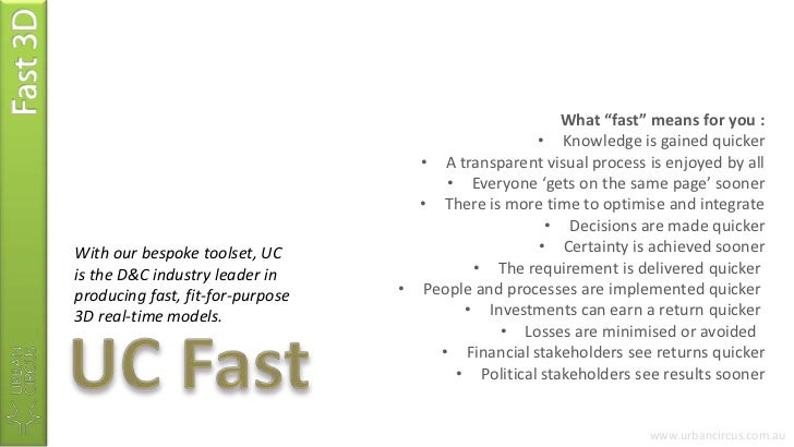 """Fast 3D<br />What """"fast"""" means for you :<br /><ul><li>Knowledge is gained quicker"""