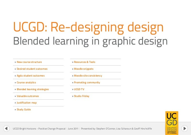 UCGD: Re-designing designBlended learning in graphic design » New course structure                               » Resourc...